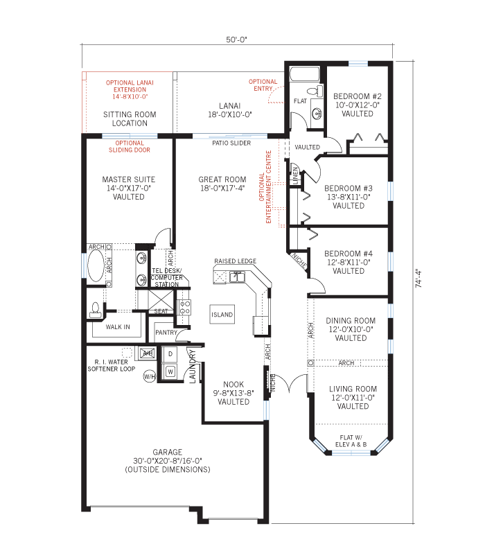 Base floorplan of Kingfisher 1 - Elevation B - 2,357 sqft, 4 Bedroom, 2 Bathroom - Cardel Homes Tampa