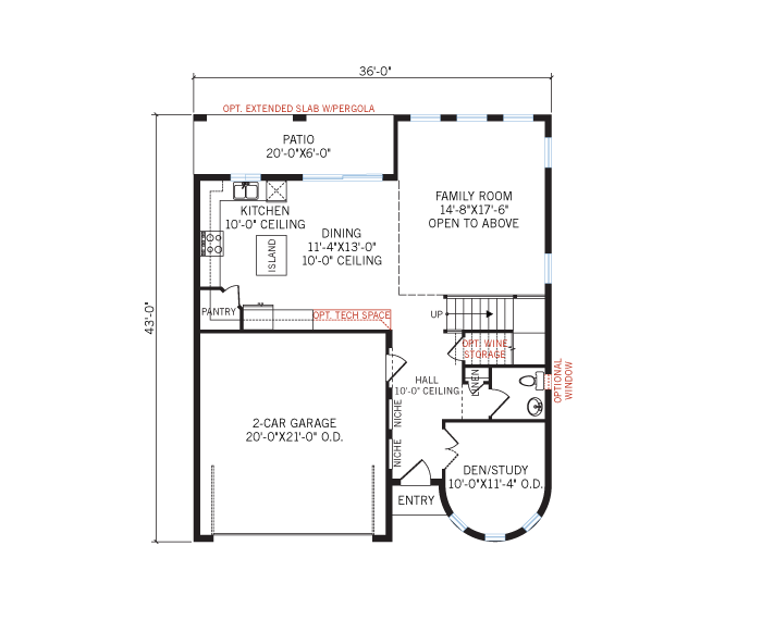Base floorplan of Waverly - Elevation - 3,282 sqft, 4 Bedroom, 3.5 Bathroom - Cardel Homes Tampa