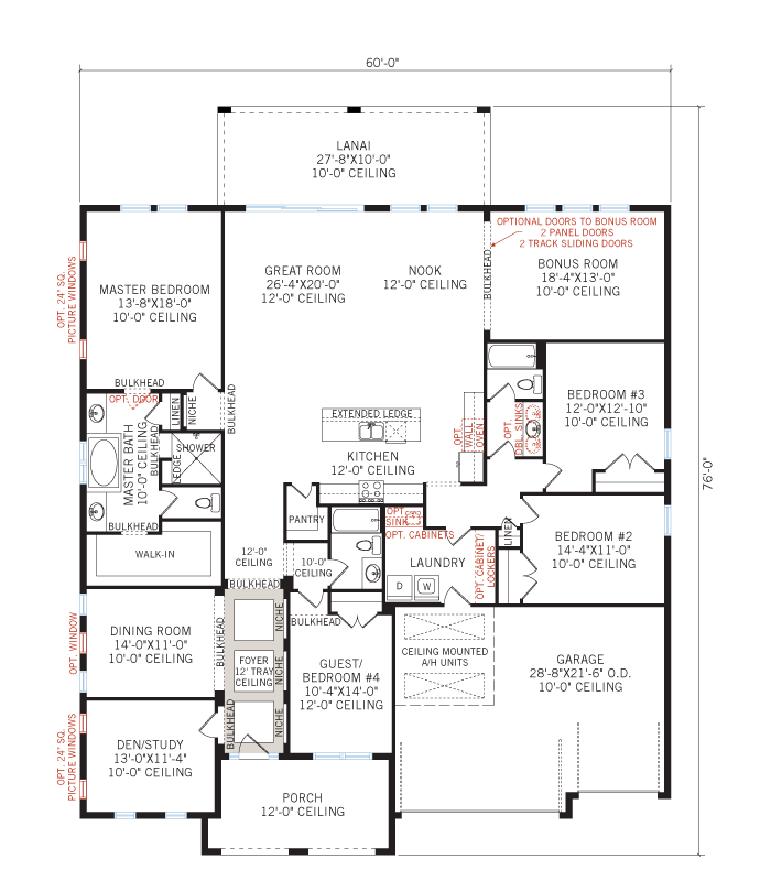 Base floorplan of Grand Cayman - Tuscan - 3,032 - 3,432  sqft, 4 - 5 Bedroom, 3 - 4 Bathroom - Cardel Homes Tampa