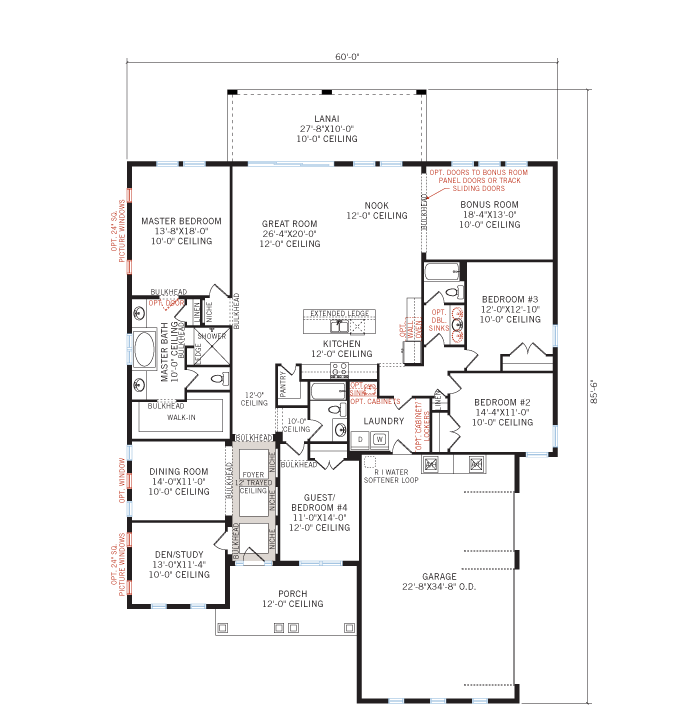 Base floorplan of Grand Cayman 2 - Tuscan - 3,044 - 3,444 sqft, 4 Bedroom, 3 - 4 Bathroom - Cardel Homes Tampa