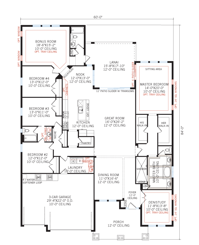 Base floorplan of St. Lucia FHR PRES - Craftsman - 3,336 sqft, 4 - 5 Bedroom, 3 Bathroom - Cardel Homes Tampa