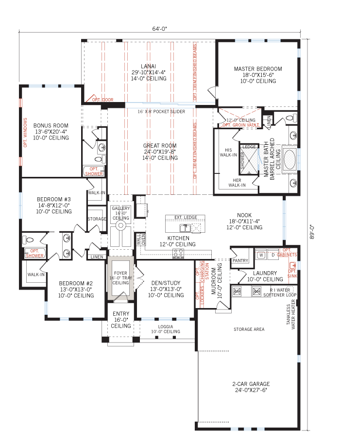 Base floorplan of Dolcetto 4 - Italian Villa - 3,270 - 3,423 sqft, 3 Bedroom, 3 Bathroom - Cardel Homes Tampa