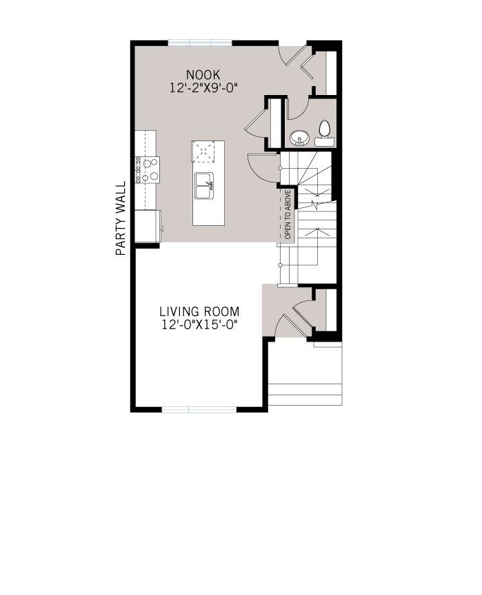 Base floorplan of The COBALT 3 - Urban Farmhouse A5 - 1,360 sqft, 3 Bedroom, 2.5 Bathroom - Cardel Homes Calgary