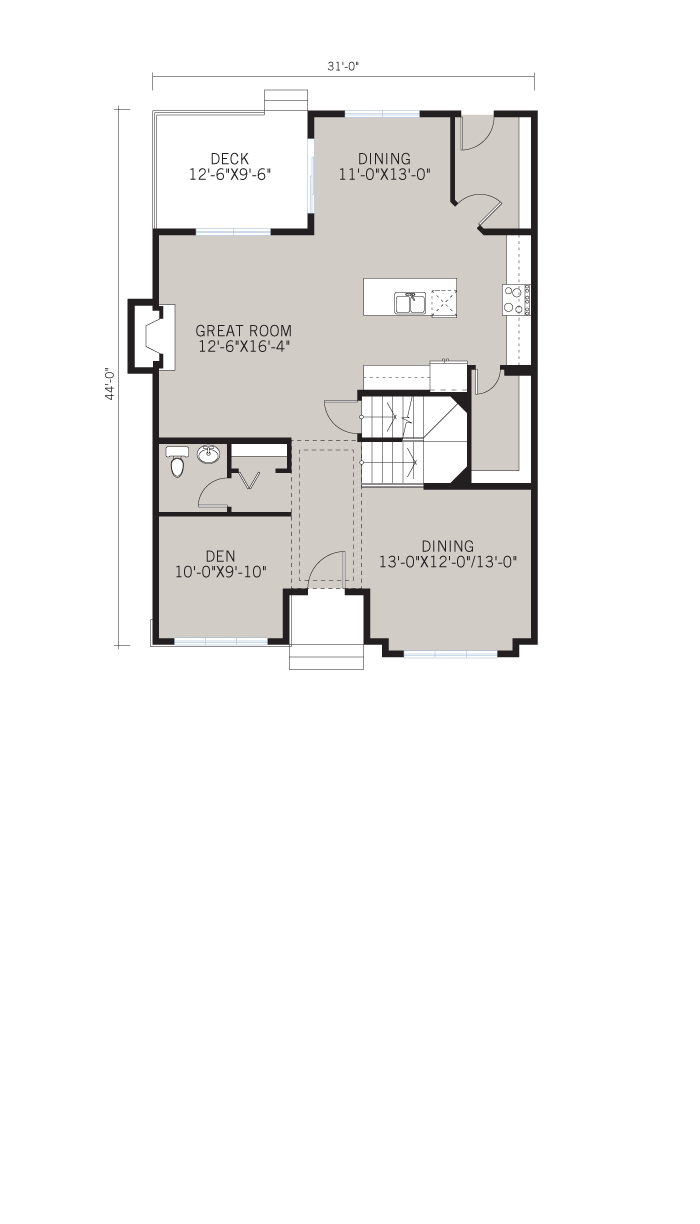 Base floorplan of HUTTON-SP2016 - Shingle S1 - 2,445 sqft, 3 Bedroom, 2.5 Bathroom - Cardel Homes Calgary
