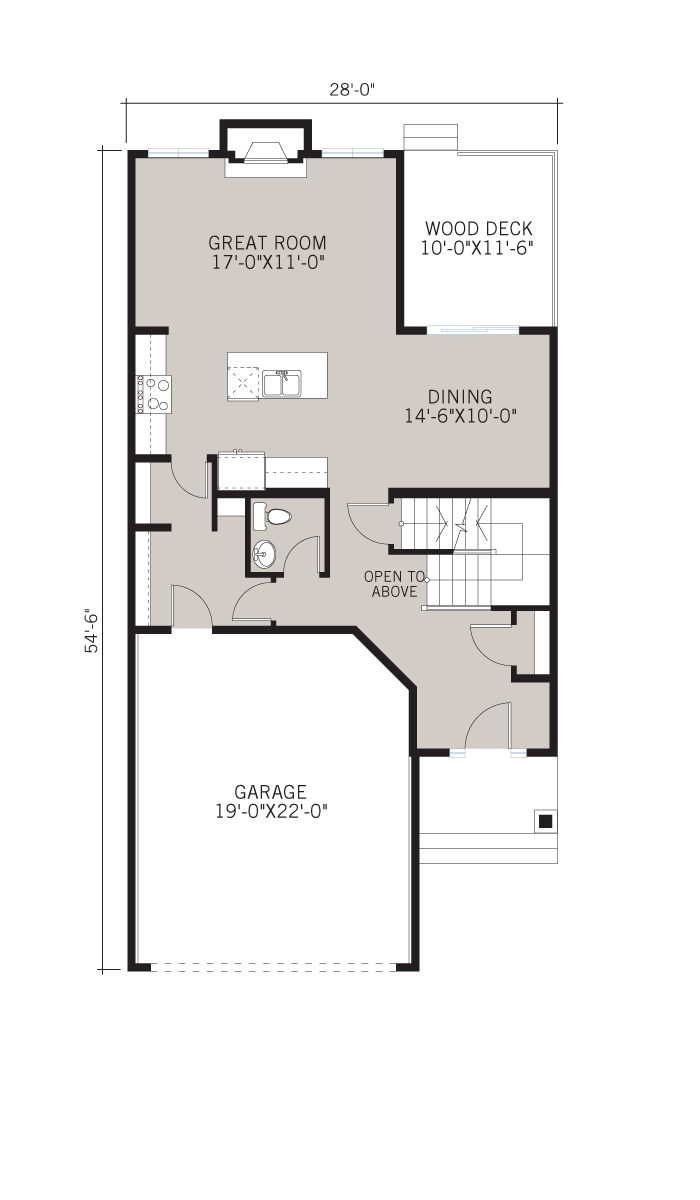 Base floorplan of MIRO - Rustic S2 - 2,028 sqft, 3 Bedroom, 2.5 Bathroom - Cardel Homes Calgary