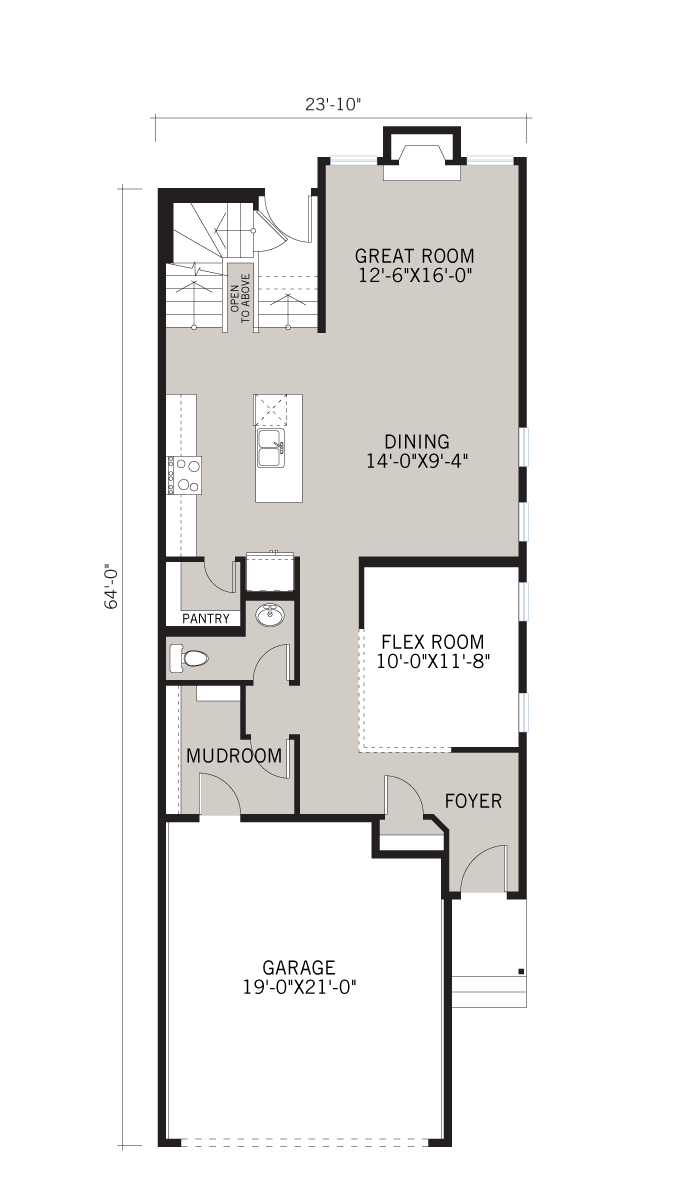 Base floorplan of Sereno - CB-Prairie C2 - 2,385 sqft, 4 Bedroom, 2.5 Bathroom - Cardel Homes Calgary