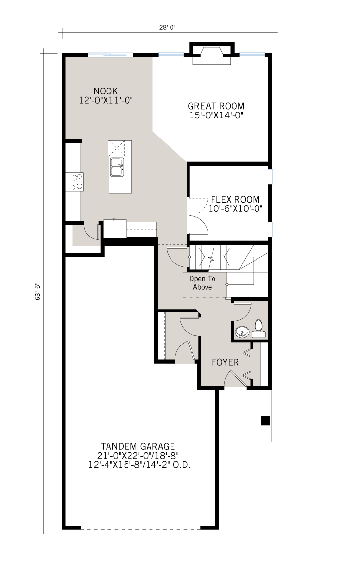 Base floorplan of Tandem Bay - Fusion Prairie F1 - 2,243 sqft, 3 Bedroom, 2.5 Bathroom - Cardel Homes Calgary
