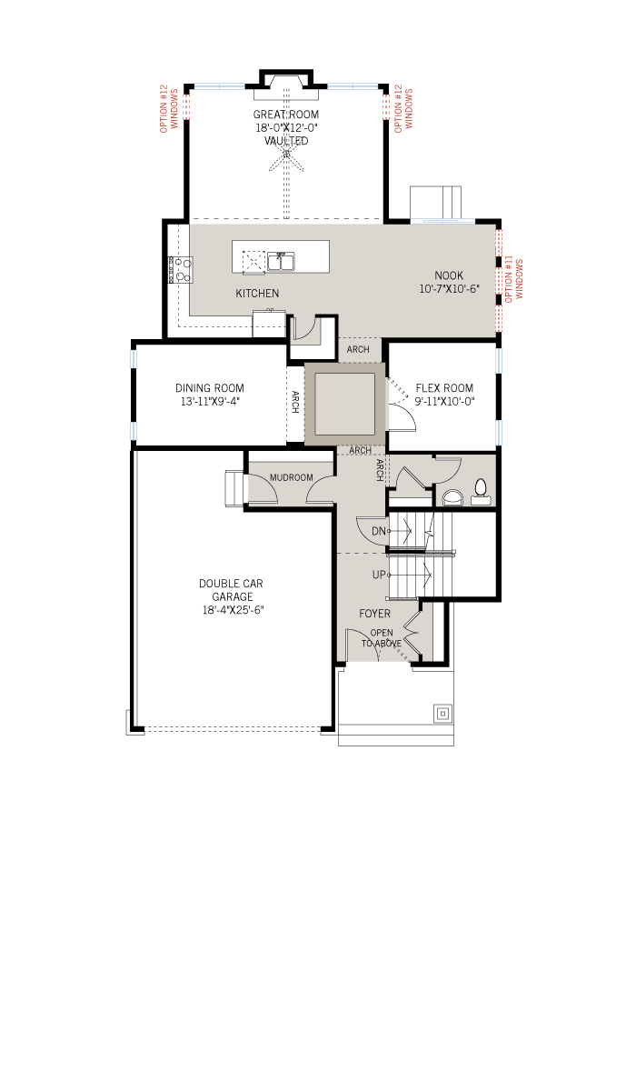 Base floorplan of Bristol CS - Traditional A2 - 2,646 sqft, 4 Bedroom, 2.5 Bathroom - Cardel Homes Ottawa
