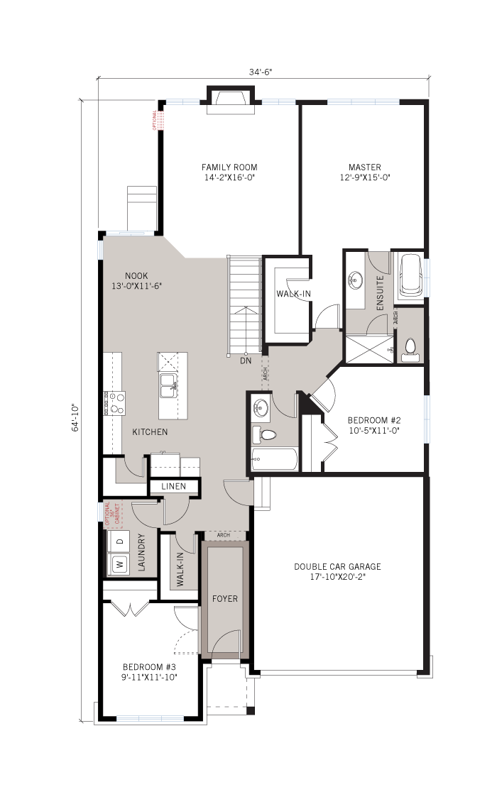 Base floorplan of Lancaster CS - Traditional A2 - 1,678 sqft, 3 Bedroom, 2.5 Bathroom - Cardel Homes Ottawa