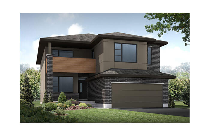 Ridgemont - R4 Modern Prairie (Hardie Panel) Elevation - 2,701 sqft, 4 Bedroom, 2.5 Bathroom - Cardel Homes Ottawa
