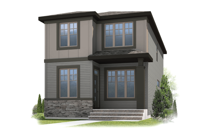 Tarmon - Modern Prairie F2 Elevation - 1,620 sqft, 3 Bedroom, 2.5 Bathroom - Cardel Homes Calgary