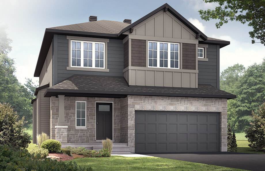 The Devonshire 2 is a 2,291 square foot single family model home located at 106 Westphalian, Kanata in Blackstone, Ottawa by Cardel Homes. The Devonshire 2 is coming Spring 2018. This picture is a rendering of the outside of the home.