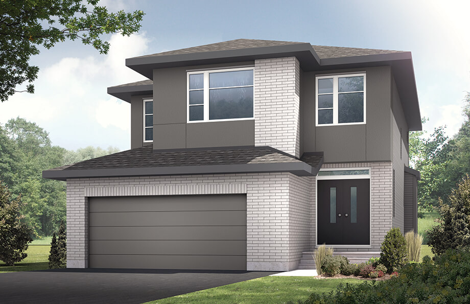 The Montage is a 2,073 square foot single family model home located at 108 Westphalian, Kanata in Blackstone, Ottawa by Cardel Homes. The Montage is coming Spring 2018. This picture is a rendering of the outside of the home.