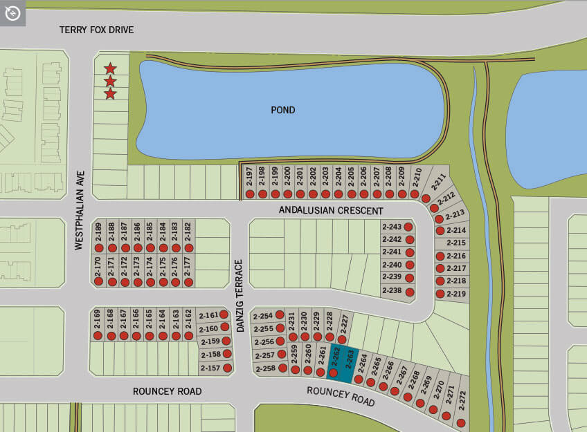 Phase 2 single home lot map of Blackstone in Kanata South, Ottawa by Cardel Homes