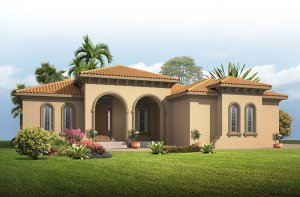 Grand Cayman 2 - Mediterranean Elevation - 3,044 - 3,444 sqft, 4 Bedroom, 3 - 4 Bathroom - Cardel Homes Tampa