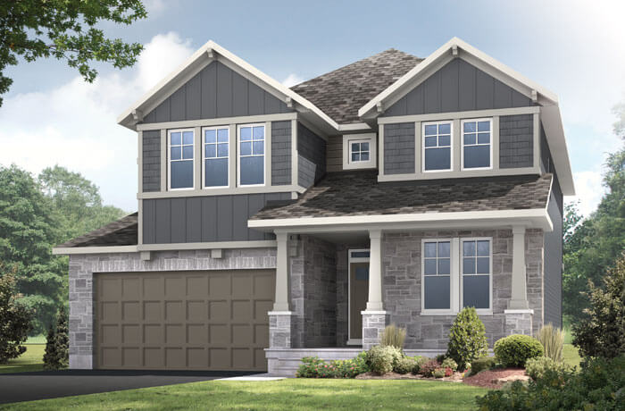 Aberdeen - Canadiana A1 Elevation - 2,847 sqft, 4 Bedroom, 2.5 Bathroom - Cardel Homes Ottawa