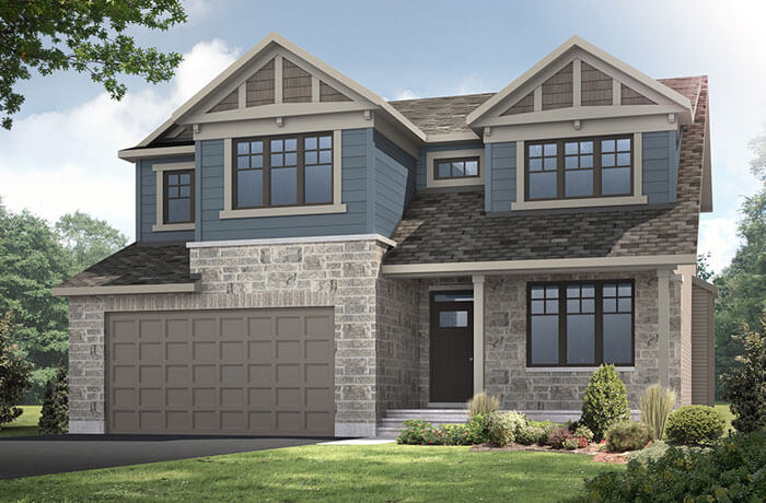 Barrington - A1 Canadiana Elevation - 2,531 sqft, 4 Bedroom, 2.5 Bathroom - Cardel Homes Ottawa