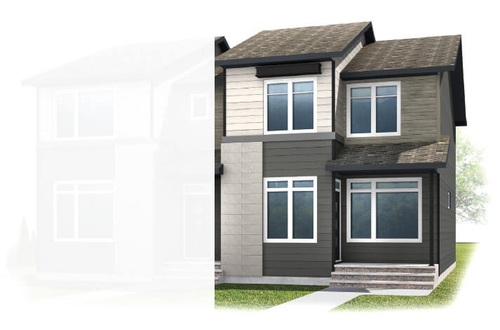 New Calgary Paired Home Quick Possession Indigo 2 in Walden, located at 32 Walgrove Drive SE Built By Cardel Homes Calgary