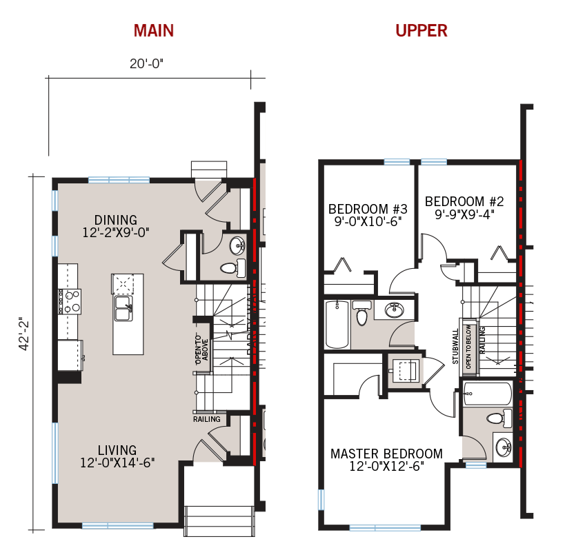 New Calgary Paired Home Quick Possession Cobalt 1 Floorplan in Walden, located at 1346 Walden Drive SE Built By Cardel Homes Calgary