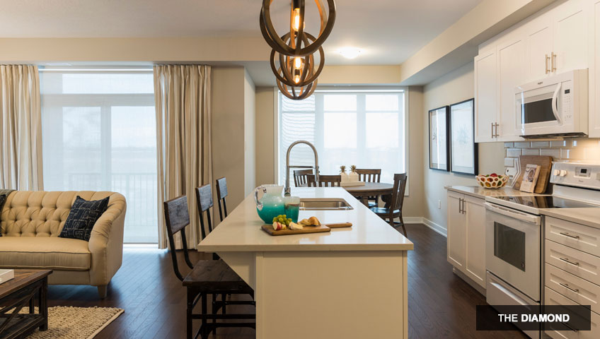 Second image of kitchen in the Diamond unit of KoL condo in Blackstone, Ottawa by Cardel Homes