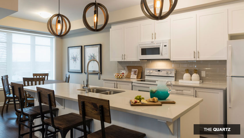 First image of kitchen in the Quartz unit of KoL condo in Blackstone, Ottawa by Cardel Homes