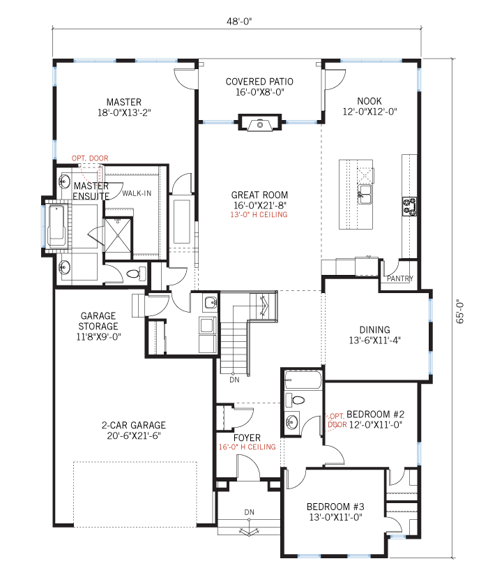Base floorplan of Romano - Elevation B - 2,274 sqft, 3 Bedroom, 2 Bathroom - Cardel Homes Denver