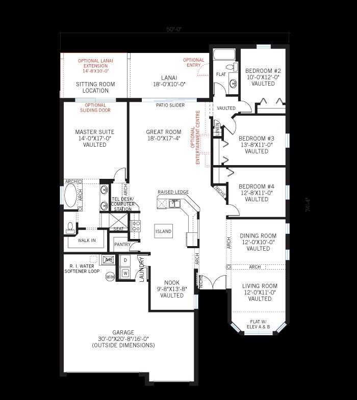 Base floorplan of Kingfisher 1 - Elevation B - 2,357 sqft, 4 Bedroom, 2 Bathroom - Cardel Homes Tampa