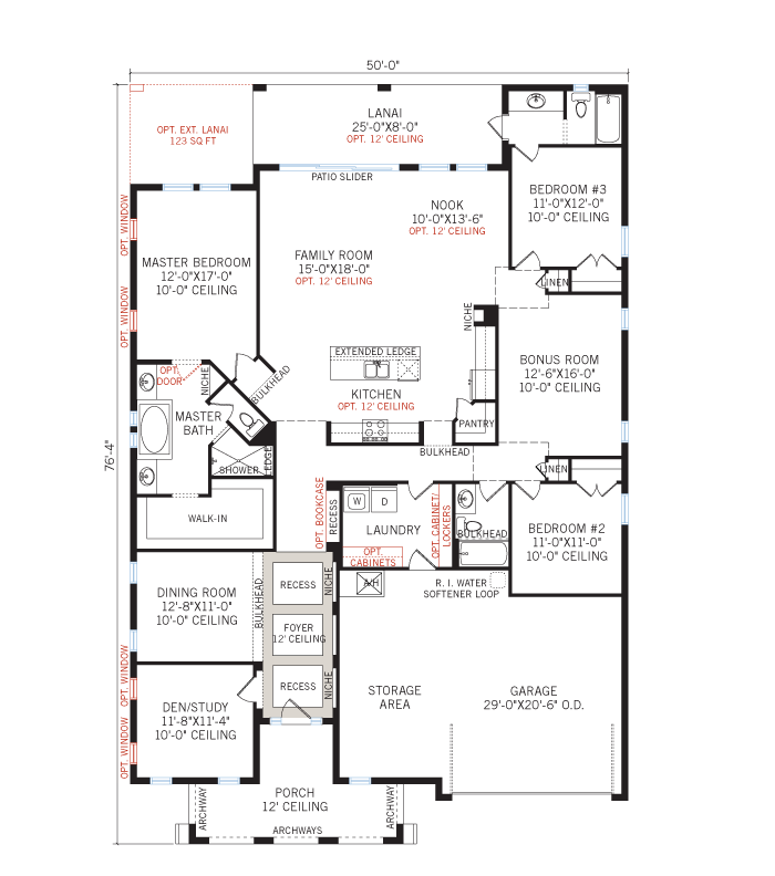 Base floorplan of Contessa - Vernacular - 2,553 sqft, 3 Bedroom, 3 Bathroom - Cardel Homes Tampa