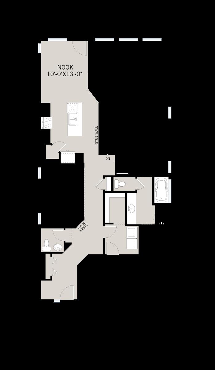 Base floorplan of BRISTOL-2-Urban-Modern-F1 - 1,386 sqft, 1 Bedroom, 1.5 Bathroom - Cardel Homes Calgary