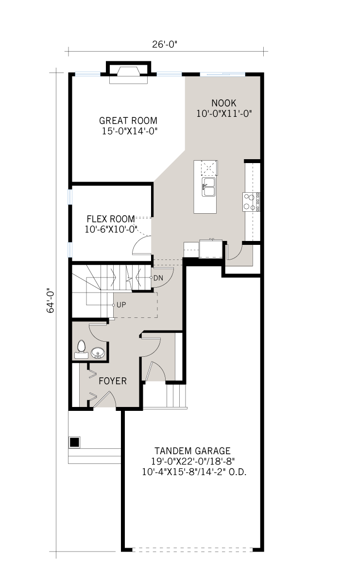 Base floorplan of Tandem Bay 2 - Eichler F2 - 2,368 sqft, 4 Bedroom, 2.5 Bathroom - Cardel Homes Calgary