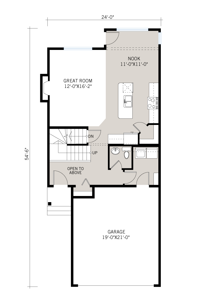Base floorplan of Orleans 2 - Tudor G2 - 1,787 sqft, 3 Bedroom, 2.5 Bathroom - Cardel Homes Calgary