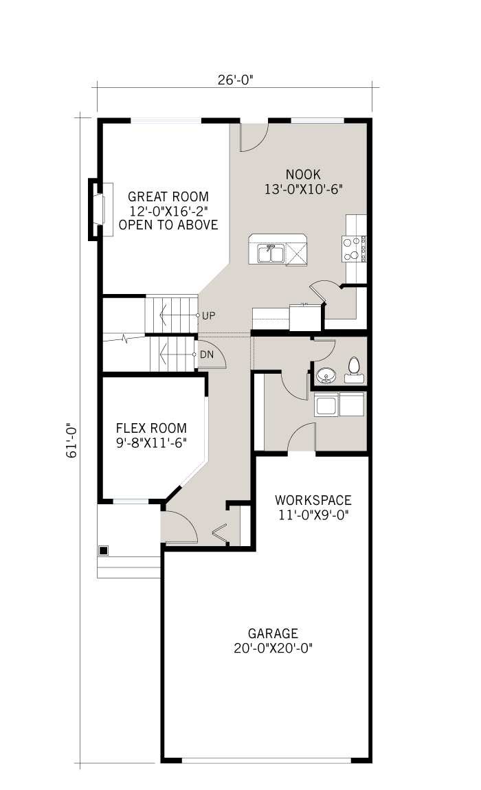 Base floorplan of Bayview 3 - Urban Modern F3 - 2,139 sqft, 3 Bedroom, 2.5 Bathroom - Cardel Homes Calgary