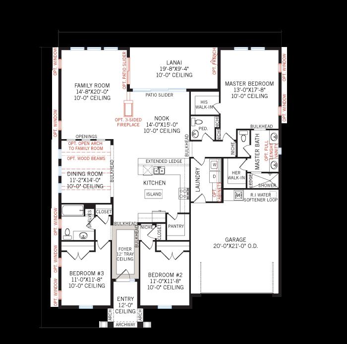 Base floorplan of Avalon - Vernacular - 2,200 sqft, 3 Bedroom, 2.5 Bathroom - Cardel Homes Tampa