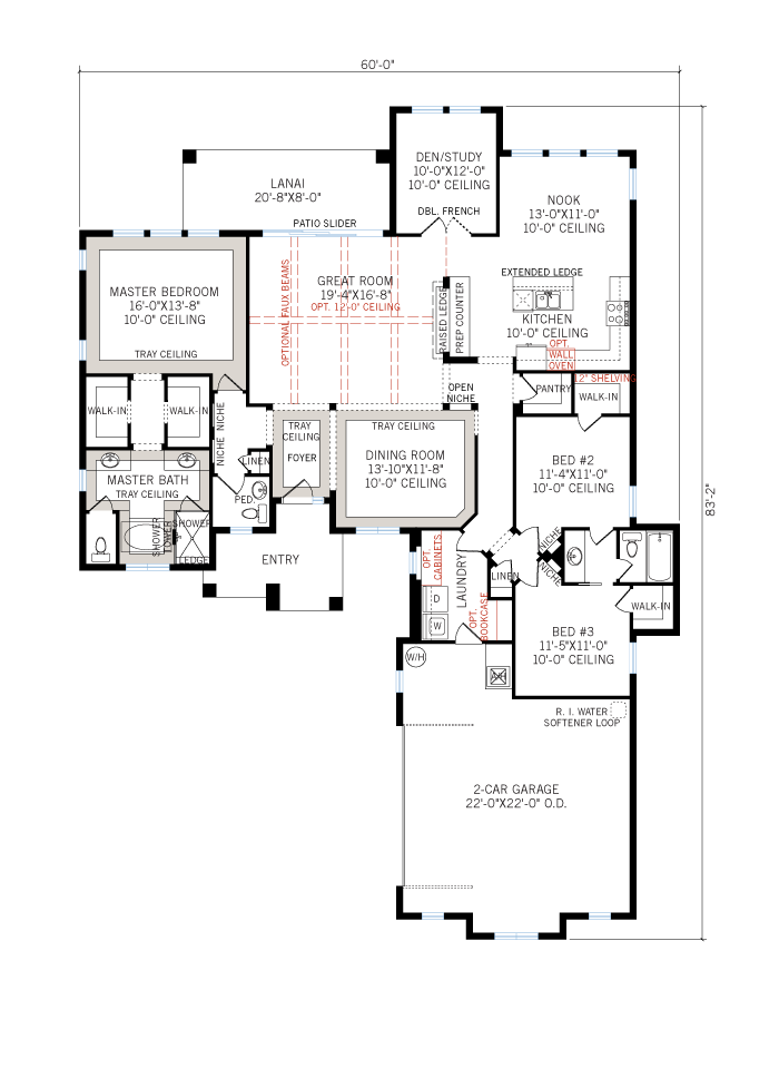 Base floorplan of Azienda - Elevation C - 2,335 sqft, 3 Bedroom, 2.5 Bathroom - Cardel Homes Tampa
