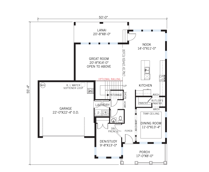 Base floorplan of Gulfstream - Elevation B - 2,987 sqft, 3 Bedroom, 2.5 Bathroom - Cardel Homes Tampa