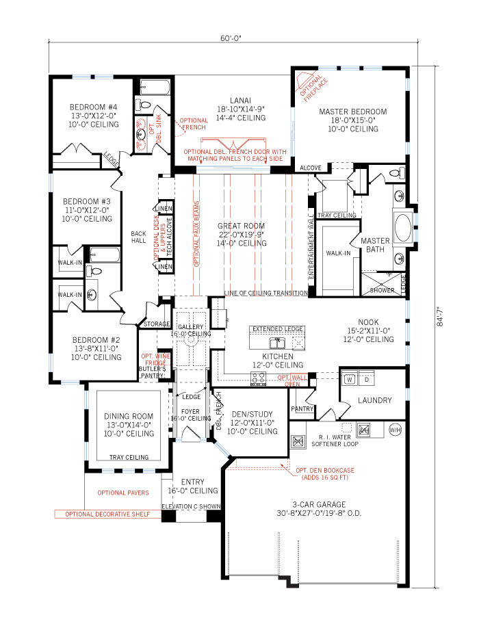 Base floorplan of Dolcetto - Elevation C - 3,233 sqft, 4 Bedroom, 3 Bathroom - Cardel Homes Tampa