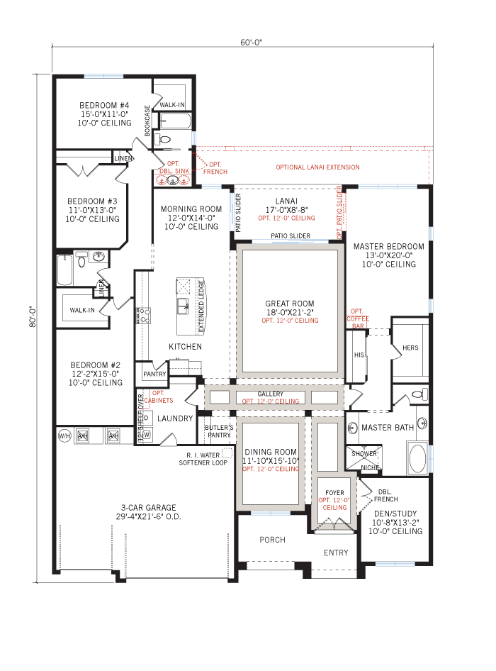 Base floorplan of Meadowbrook - Elevation B with Option 1 - 3,136 sqft, 4 Bedroom, 3 Bathroom - Cardel Homes Tampa