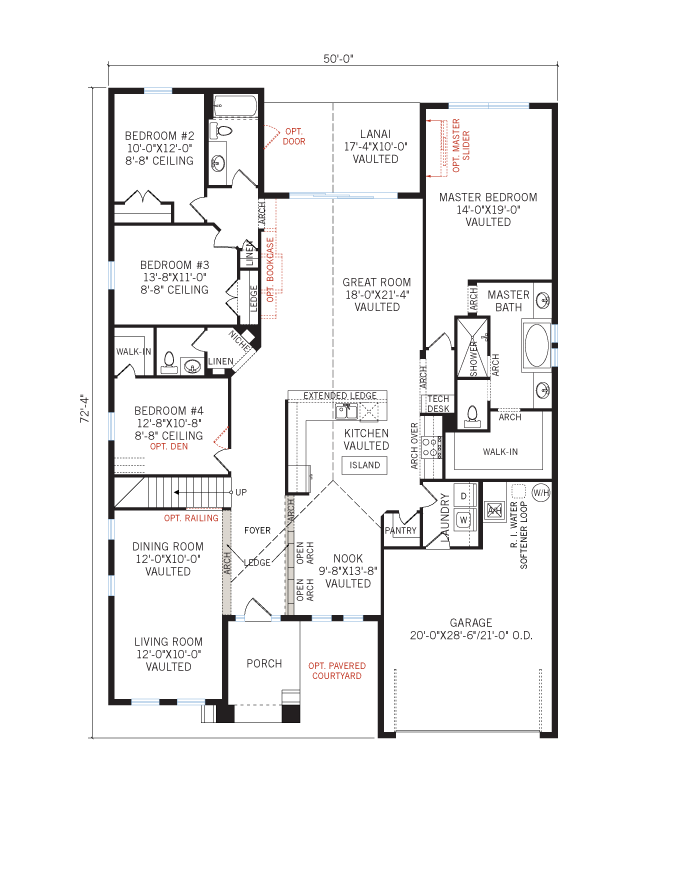 Base floorplan of Cortina SE 3 - Elevation E - 3,325 - 3,363 sqft, 4 - 5 Bedroom, 3 - 4.5 Bathroom - Cardel Homes Tampa