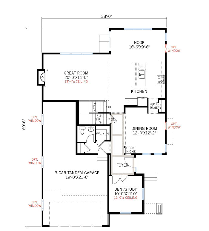 Base floorplan of Casella - Elevation A - 2,459 sqft, 3 Bedroom, 2.5 Bathroom - Cardel Homes Denver