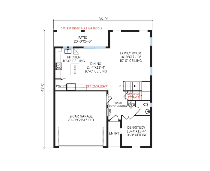 Base floorplan of Beaumont - Elevation - 3,124 sqft, 4 Bedroom, 4 Bathroom - Cardel Homes Tampa