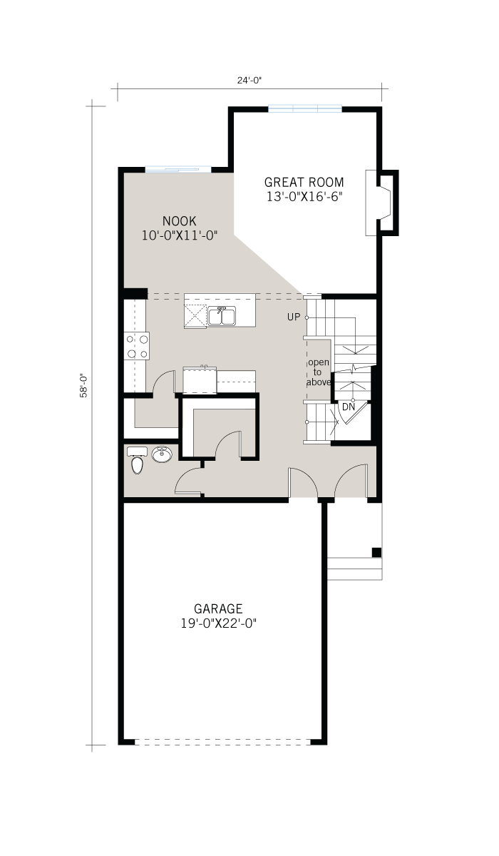 Base floorplan of Essence - Craftsman B3 - 2,013 sqft, 3 Bedroom, 2.5 Bathroom - Cardel Homes Calgary