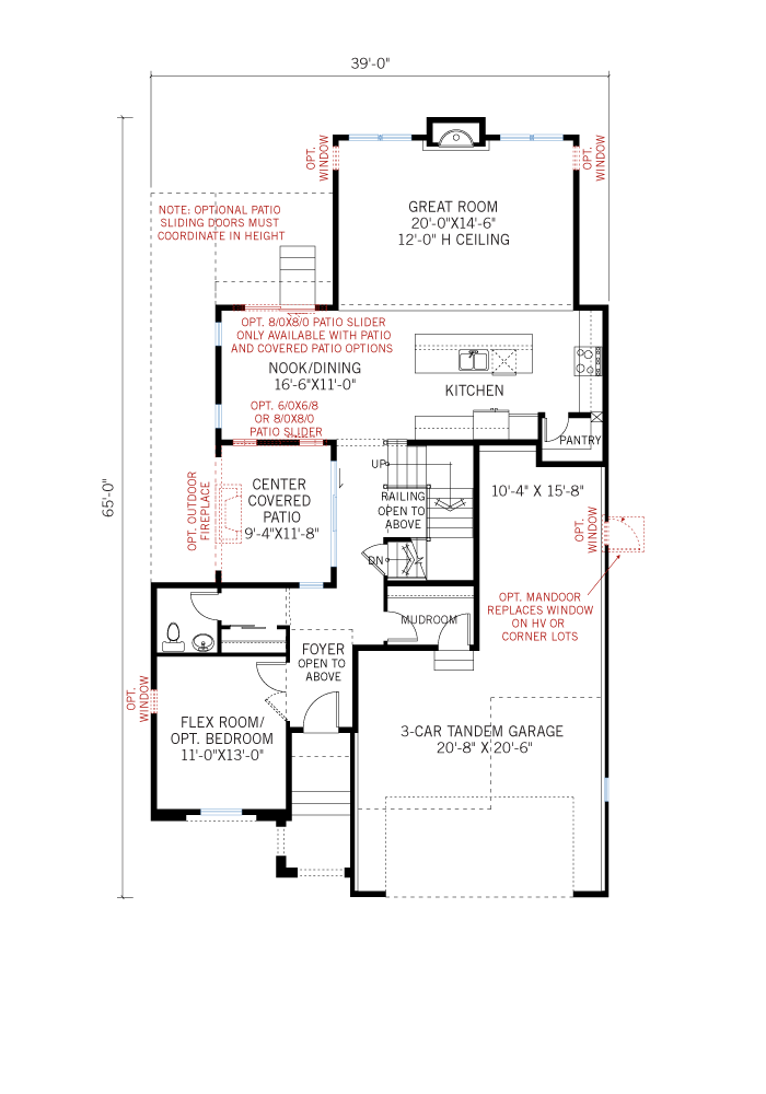 Base floorplan of Ferrero - Elevation C - 2,327 sqft, 3 Bedroom, 2.5 Bathroom - Cardel Homes Denver