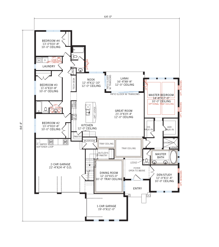 Base floorplan of Wilshire 2 - Tuscan - 3,638 - 3,718 sqft, 5 Bedroom, 4 Bathroom - Cardel Homes Tampa