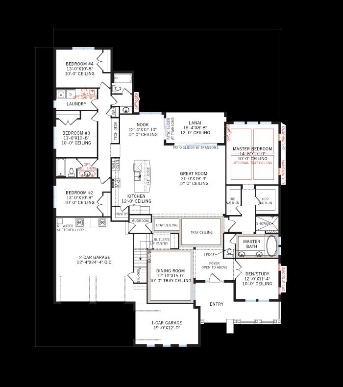 Base floorplan of Wilshire2_Tuscan_700x460 - 3,638 - 4,260 sqft, 5 Bedroom, 4 Bathroom - Cardel Homes Tampa