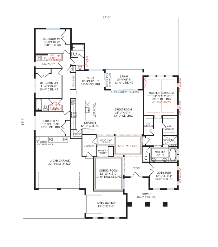 Base floorplan of Wilshire MB - British West Indies - 2,989 - 3,170 sqft, 4 Bedroom, 3 Bathroom - Cardel Homes Tampa