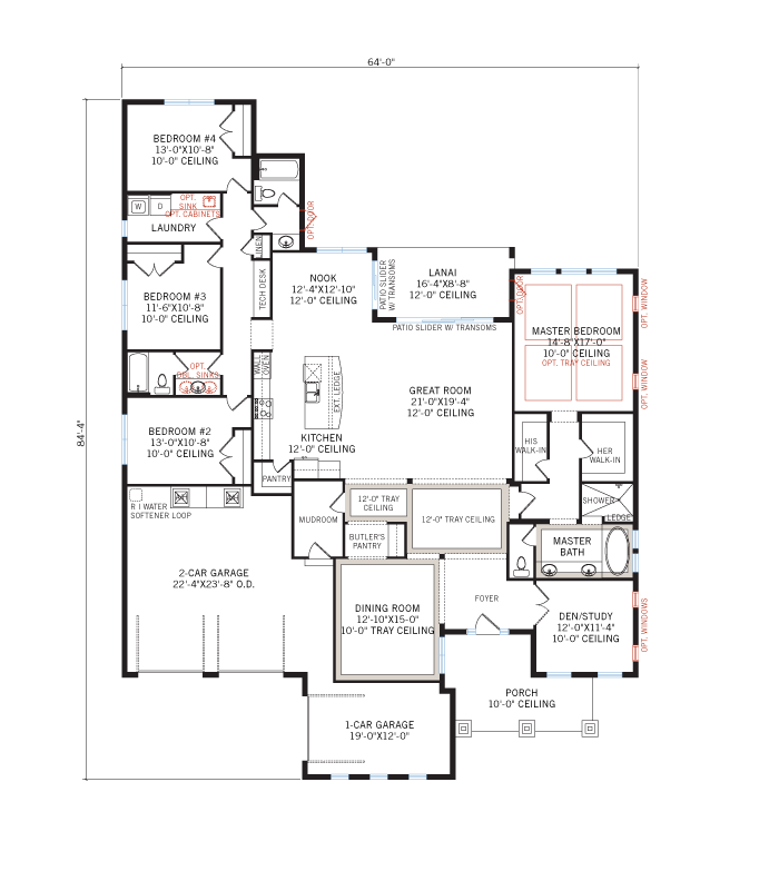 Base floorplan of Wilshire - Tuscan - 2,989 - 3,069 sqft, 4 Bedroom, 3 Bathroom - Cardel Homes Tampa