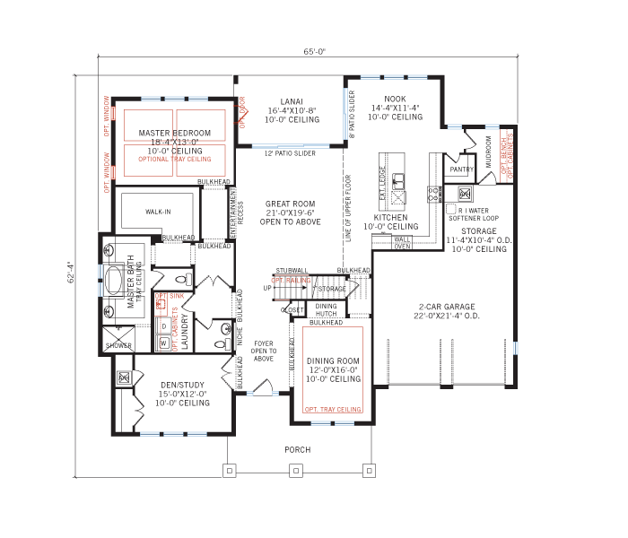Base floorplan of St. Regis - Tuscan - 3,484 - 3,833 sqft, 4 Bedroom, 2.5 Bathroom - Cardel Homes Tampa