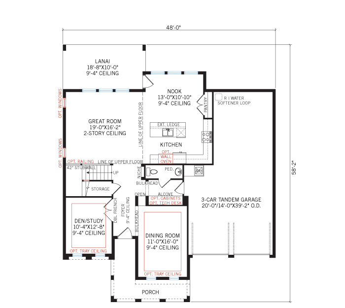 Base floorplan of Nautilus Renderings - Craftsman - 2,680 - 3,196 sqft, 3 - 5 Bedroom, 2.5 - 4.5 Bathroom - Cardel Homes Tampa