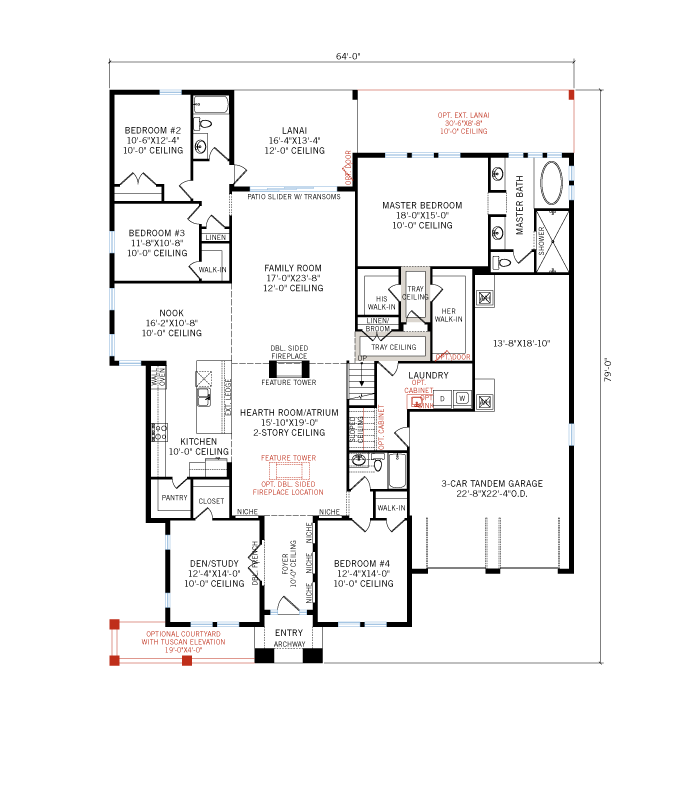 Base floorplan of Waldorf - Tuscan - 3,661 - 3,672 sqft, 4 - 5 Bedroom, 3.5 - 4 Bathroom - Cardel Homes Tampa
