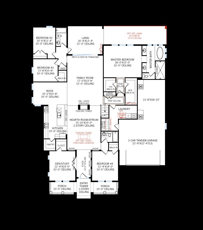 Base floorplan of Waldorf_ItalianVilla_700x460 - 3,661 - 3,672 sqft, 4 - 5 Bedroom, 3.5 - 4 Bathroom - Cardel Homes Tampa